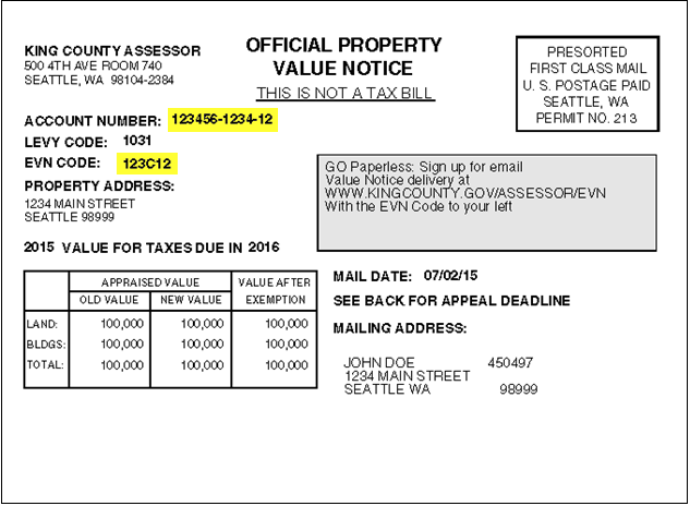 Electronic Valuation Notices - King County
